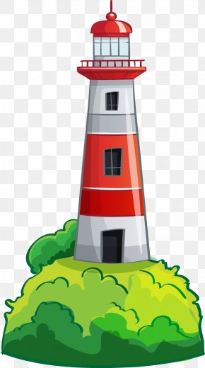Sea Lighthouse - Cartoon Sea Lighthouse Illustration PNG