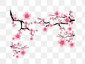 Vector Pink Japanese Elements Cherry Blossom Branches Dress Up - Cherry Blossom Plum Blossom Clip Art PNG