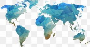 Blue World Map Shape Element - World Map Blank Map PNG