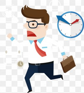 Man Running Late For Work - Cartoon PNG