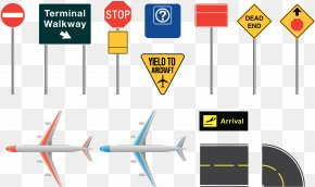 Airport Signboard - Airplane Airport Traffic Sign Illustration PNG