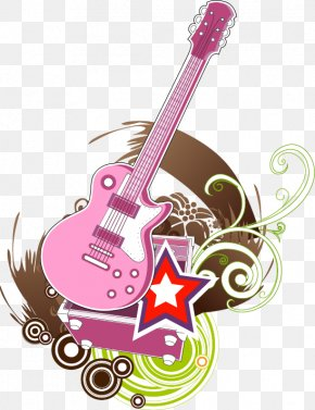 Abstract Pink Guitar Five-pointed Star Pattern - Electric Guitar Five-pointed Star Illustration PNG