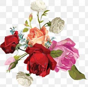 Rose Transparent Bouquet - Garden Roses Cabbage Rose Flower Bouquet Cut Flowers PNG