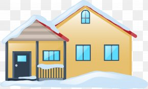 Snow Covered House - Winter Snow House Illustration PNG