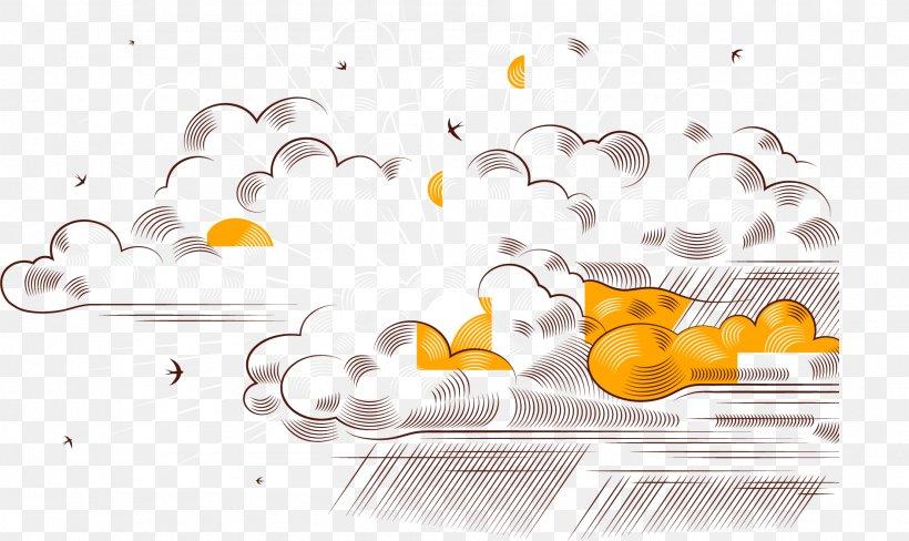 Euclidean Vector Cloud Rain, PNG, 1887x1124px, Computer Graphics, Brand, Cloud, Designer, Orange Download Free