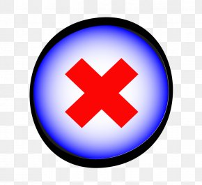 Blue Button Icon Red Cross - Button Download Icon PNG
