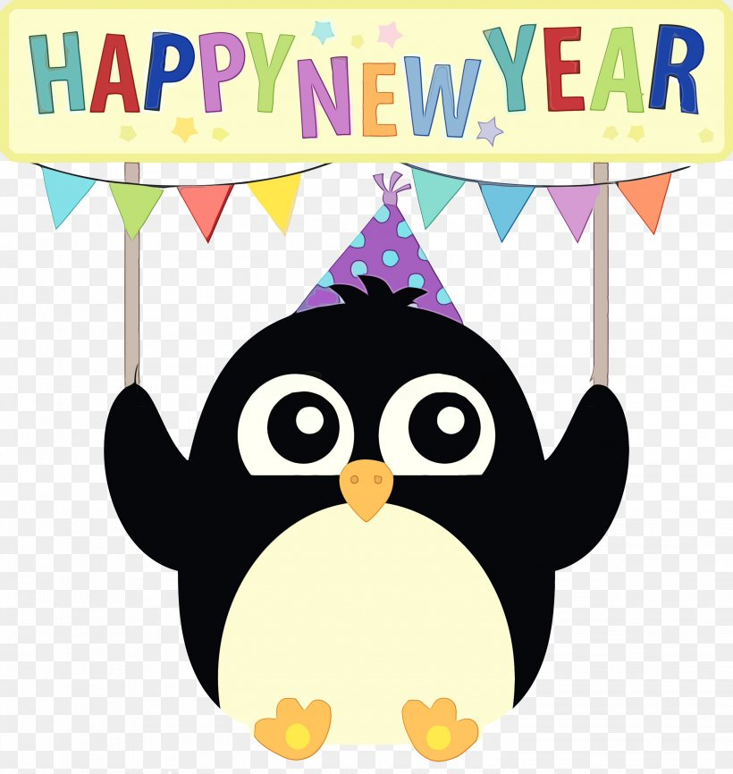 Party Hat, PNG, 2903x3066px, Happy New Year, Cartoon, Flightless Bird, Paint, Party Hat Download Free