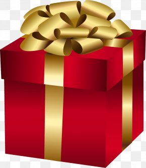 Large Red Gift Box With Gold Bow - Christmas Gift Christmas Day Clip Art PNG
