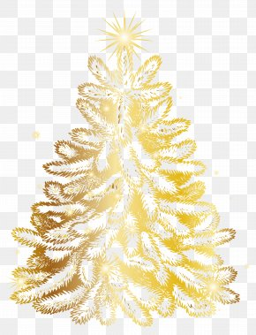 Christmas Gold Tree Transparent Clip Art Image - Christmas Tree Gold Clip Art PNG