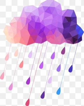 Weather Creative Decorative Elements - Cloud Rain Geometry Weather PNG