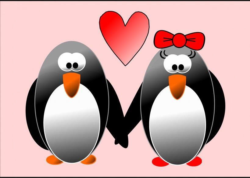 Penguin Wedding Invitation Valentine's Day Heart Clip Art, PNG, 2400x1709px, Penguin, Beak, Bird, Craft, Cuteness Download Free