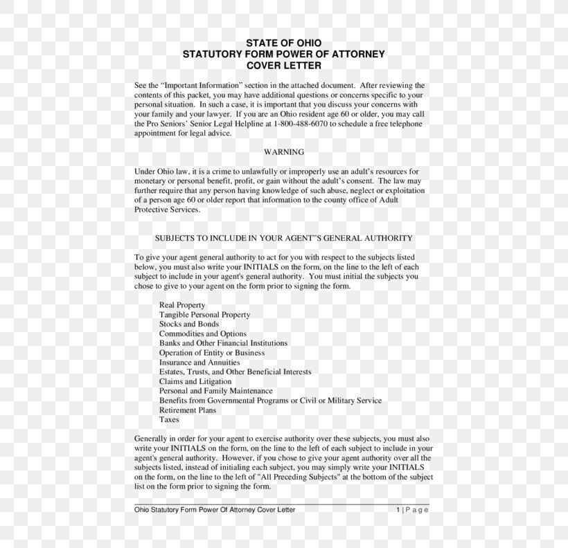 Ohio Power Of Attorney Statute Form Law, PNG, 612x792px ...