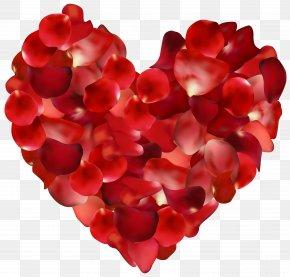 Rose Petals Hearts Transparent Clip Art Image - Petal Rose Heart Clip Art PNG