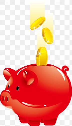 Vector Red Piggy Bank - Piggy Bank Saving Money PNG