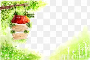 Watercolor Wooden Tag Trees Background - Cartoon Spring Illustration PNG