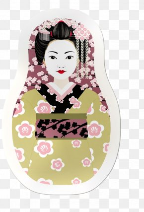 Japanese Paper Clip - Matryoshka Doll Geisha Drawing Postcard PNG