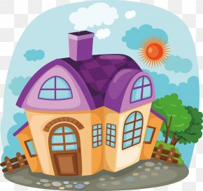 Beautifully Painted Decorative Design - Design Home House Cartoon Illustration PNG