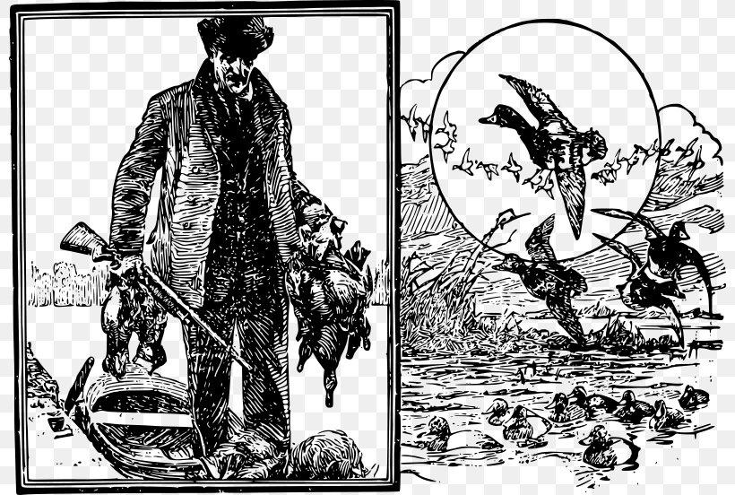 Duck Hunt Bird Waterfowl Hunting Clip Art, PNG, 800x552px, Duck Hunt, Art, Bird, Black And White, Cartoon Download Free