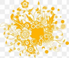 Orange Art Pattern - Flower Floral Design Clip Art PNG