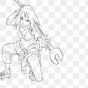 Lineart Naruto - Line Art Finger Drawing Cartoon Character PNG