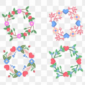 Geometry And Garlands Of Flowers Vector Material - Euclidean Vector Flower Garland Geometry PNG