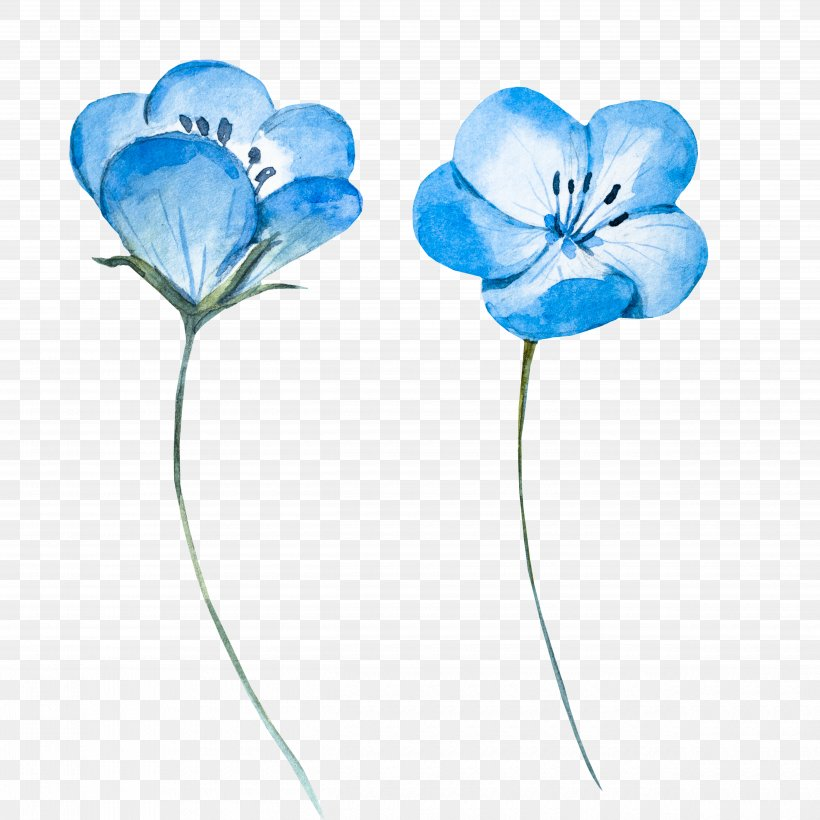 Watercolor Painting Blue Flower Png 5000x5000px