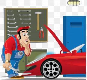 Vector Car Repair - Auto Mechanic Car Clip Art PNG
