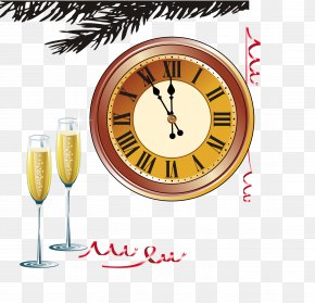 Champagne And Clock Vector - Champagne Clock Clip Art PNG