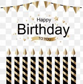 Golden Birthday Card - Wedding Invitation Birthday Cake Greeting Card Candle PNG