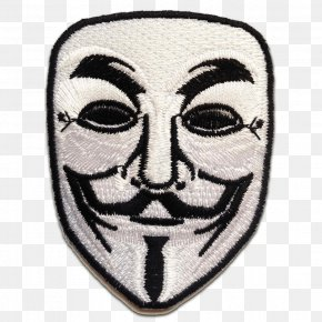 V For Vendetta - Embroidered Patch Guy Fawkes Mask Iron-on Anonymous Amazon.com PNG