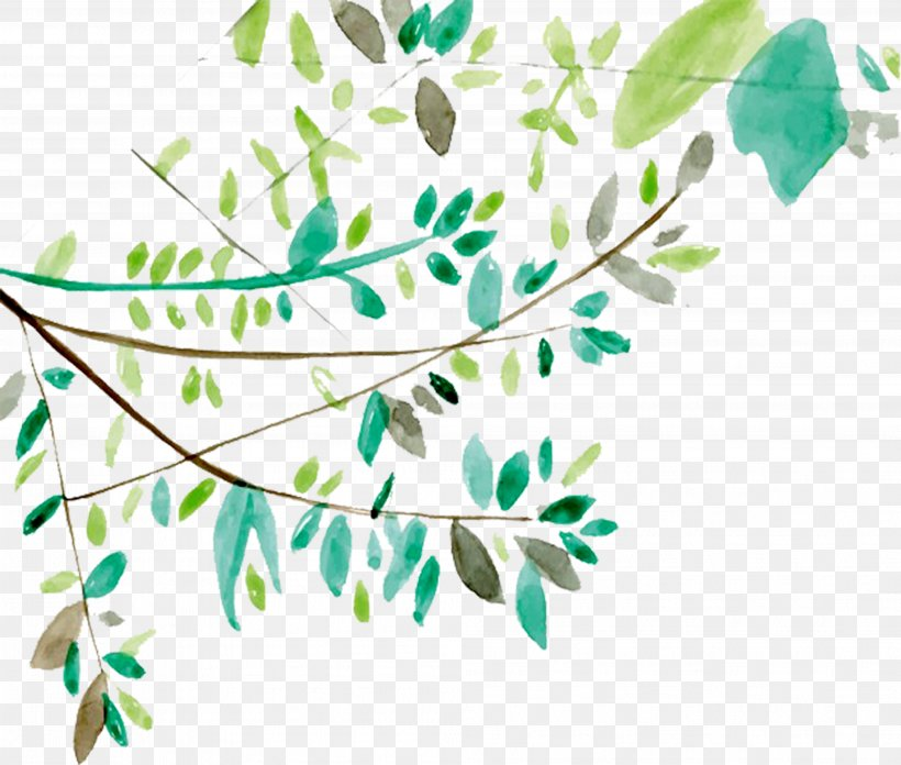 Leaf Watercolor Painting Euclidean Vector Icon, PNG, 3971x3375px, Watercolor Painting, Branch, Clip Art, Flora, Floral Design Download Free