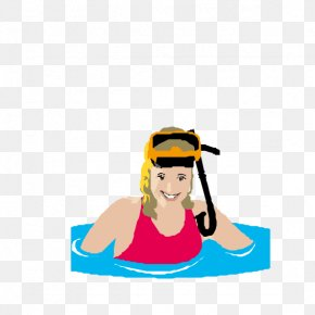 Woman With Swimming Goggles - Swimming Underwater Diving Illustration PNG