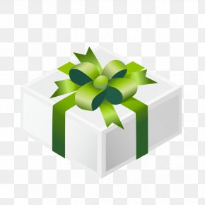 Green Flowers Gift Box - Box Gift Green PNG