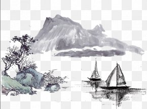 Mountain Ink Painting - Ink Wash Painting Drawing PNG