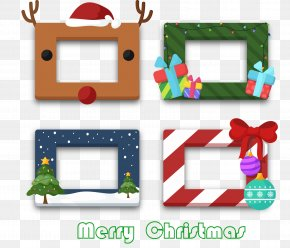 4 Creative Christmas Rectangular Box - Christmas Tree Party Picture Frame Photo Booth PNG