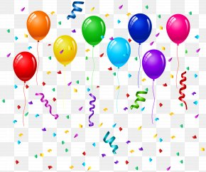 Confetti And Balloons Clip Art Image - Birthday Cake Balloon Party Greeting Card PNG
