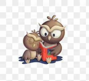 Cartoon Owl Storytelling - Desktop Environment Cartoon Wallpaper PNG