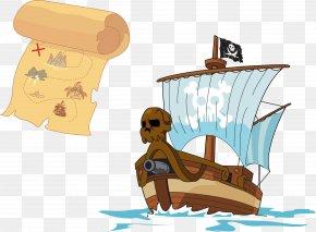 Vector Hand-drawn Map Of The Pirate Ship - Treasure Island Piracy Treasure Map PNG