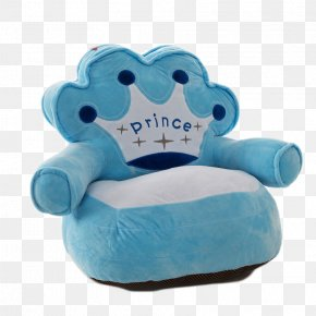 Blue Crown Children Small Sofa - Couch Stuffed Toy Icon PNG