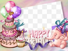 Birthday Frames - Birthday Cake Picture Frame Greeting Card Clip Art PNG