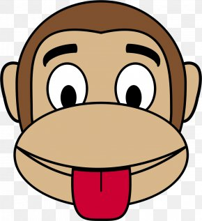 Tongue Out Cliparts - Monkey Face Cartoon Clip Art PNG
