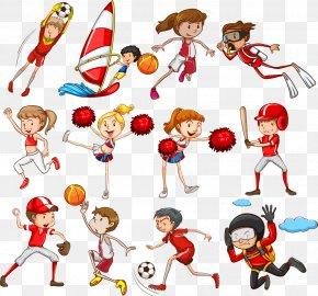 Vector Cartoon Cheerleaders Athletes - Sport Child Clip Art PNG