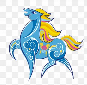 Blue Cartoon Horse - Horse Greeting Card Chinese New Year Chinese Zodiac Postcard PNG