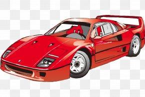 Cartoon Painted Red Sports Car Fashion - Sports Car Ferrari Clip Art PNG