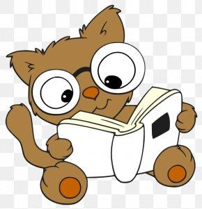 CARTOON READING - Cat Cartoon Reading Clip Art PNG