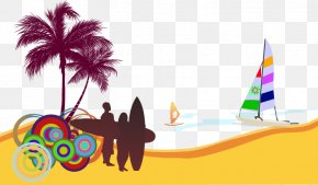 Cartoon Summer Beach Palm Beach - Wedding Invitation Beach Party Convite Surfing PNG