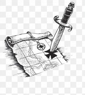 A Sharp Edged Knife Stuck In The Target - Piracy Treasure Map Drawing Illustration PNG