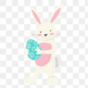 A Little Rabbit With Colored Eggs - Easter Bunny Rabbit Egg PNG