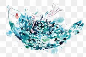 Vector Blue Fish - Graphic Design Watercolor Painting Illustrator Illustration PNG