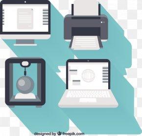 Computer Equipment Flat Design Vector - Printing Printer Download PNG